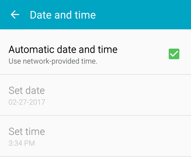 Android automatic date and time