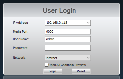 Lorex Client 10: User Login Window